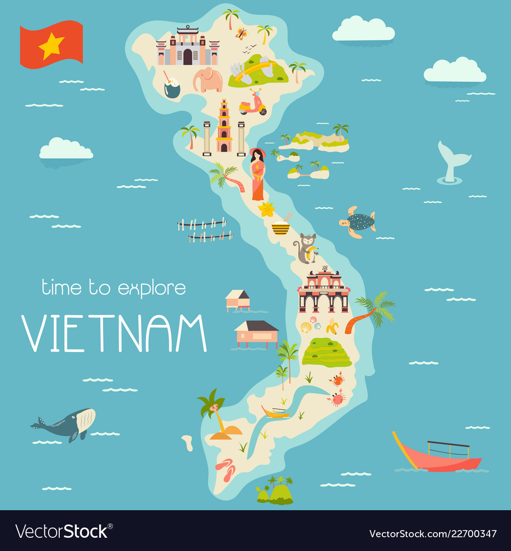 Vietnm cartoon vector map with famous destinations, animals, fruits, symbols